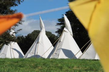 Glamping Accommodation in Tipis at Pennard House