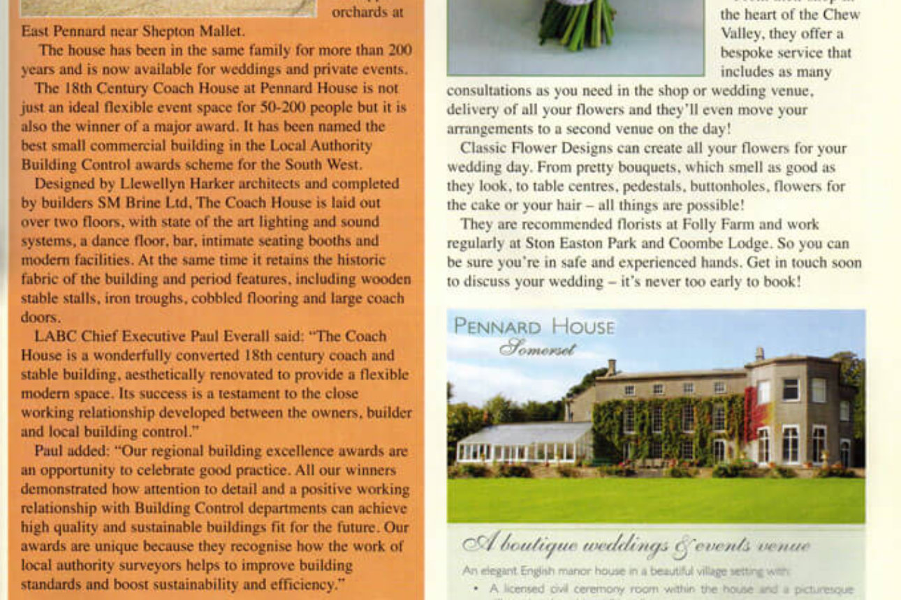 Mendip Times - 'Coach House Wins Award, August 2013