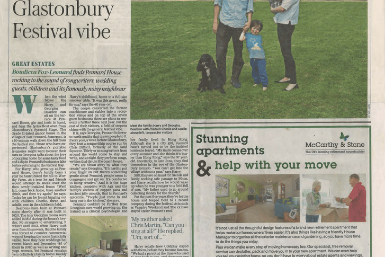 Telegraph Property - 'Family Seat Echoes to the Glastonbury Festival Vibe, June 2017